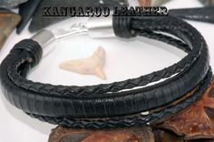 4B-521 Finely Made Sterling Silver Kangaroo Leather New Wristband Men Bracelet