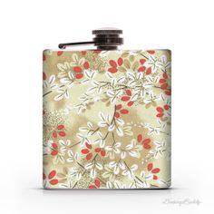 Asian Floral Red Cream and White  6oz Whiskey by DrinkingBuddy, $20.00