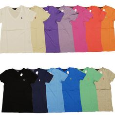 06ad947562 Polo Ralph Lauren Womens T Shirt Solid V Neck Pony Logo Tee S S Sport