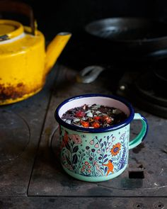 "phoebewahl: ""My 2016 Flower Maidens enamel mug, photographed by My Cup Of Tea, Cute Mugs, Pottery Painting, Wabi Sabi, Mug Cup, Mug Designs, Surface Design, Coffee Cups, Coffee Time"