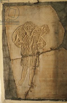 Early Christian art. The Good Shepherd. Relief. 4th century. Bardo National Museum. Tunis. Tunisia.