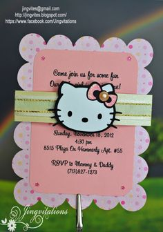 Hello Kitty Birth Announcement  hello kitty birthday invitations #silhouettecameo #cricut #card #birthday #babyshower #invitations #jingvitations #hellokitty #ilovehellokitty