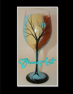 Tree Wine Glass Wine Glass Hand Painted Wine Glass by GranArt