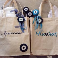 baptism#tote#bags#personalized#handmade#Greece#yourname#evil#eye