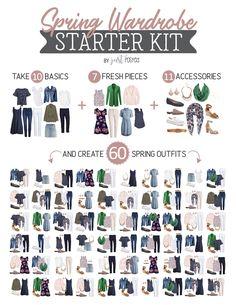 Spring Wardrobe Starter Kit: Capsule Wardrobe for Spring: Create 60 Outfits! Spring Starter Kit – Capsule Wardrobe – Just Posted Capsule Wardrobe Women, French Capsule Wardrobe, Capsule Outfits, Fashion Capsule, Wardrobe Basics, 10 Piece Wardrobe, Professional Wardrobe, Summer Wardrobe, Work Wardrobe Essentials