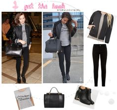get the look for less emma watson style, airport style, graphic tee, casual look, black booties, black jeans, black bomber jacket, nyc fashion, black tote bag, summer, edgy, cool, chic outfit ideas