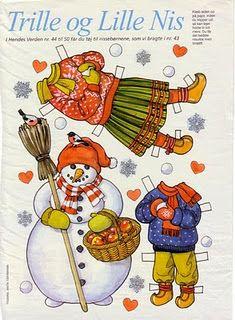 Trille og Lille Nis. Scandinavian Christmas paper dolls-- building a snowman