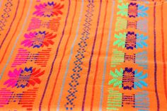 Mexican  Fabric Orange and Geometric 31 width by by joselinicrafts