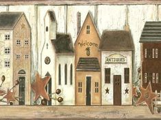 Wall Border: Faux Country Border - from Folk Heart II book by Three Sisters Studio - York Wallcovering. Primitive Painting, Primitive Folk Art, Primitive Crafts, Tole Painting, Country Primitive, Country Crafts, Country Decor, Primitive Wallpaper, Primitive Tables