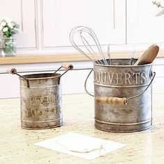Zinc Utensil Holder Kitchen Gift Set