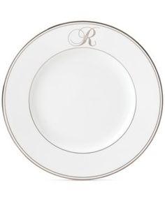 Lenox Federal Platinum Monogram Script Dinner Plate - White