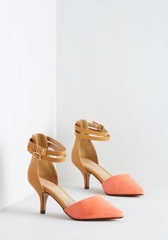 Prancy Footwork Heel in Coral and Tan. Waltz on air in the stunning style of these coral-and-tan colorblock pumps. #wedding #modcloth