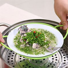 Round Dish Cooking Non-Slip Cooker Food Steamer Vegetable Silicone Food Steamer Kitchen accessories Heatproof Plate  MA677941#plate