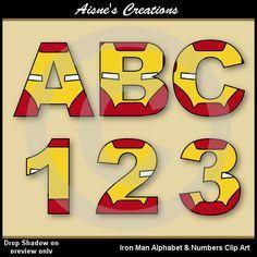 Números y letras del alfabeto hierro hombre por AisnesCreations                                                                                                                                                                                 Más