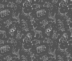 constellations // night time stars sky charcoal grey kids nursery baby print fabric by andrea_lauren on Spoonflower - custom fabric