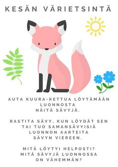 Taideluontokasvatus: Tulosta kesän luontotehtävä lapsille: sävyjen etsintä metsäretkellä Finnish Language, Teaching Kindergarten, Early Childhood Education, Land Art, Occupational Therapy, Special Education, Preschool Activities, Art For Kids, Science
