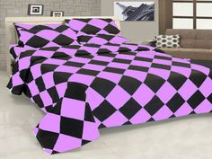 14'' 7 Pc Egyp. Cotton Misty Rose & Black Diamond Style Duvet Cover Set Full.