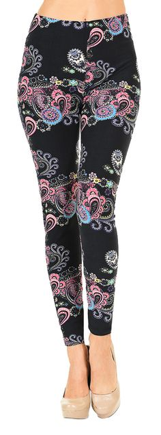 Printed Brushed Leggings - Pink and Blue Paisley  #Leggings #VIVCollection #OOTD #Fashion