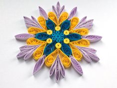 Snowflake Purple Yellow Blue Christmas Tree Decoration Winter Ornaments Gifts Toppers Fillers Office Corporate Paper Quilling Quilled Art This is a unique handmade quilled snowflake! Amazing Christmas gift for Your loved ones and suitable for all winter occasions. You can hang it on