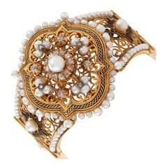 A French Napoleon III Natural Pearl Diamond and Enamel Bracelet 1860