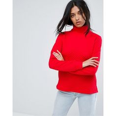 A State Of Being Invite Roll Neck Jumper (70 AUD) ❤ liked on Polyvore featuring tops, sweaters, red, high neckline tops, tall sweaters, red ribbed top, ribbed top and roll neck top