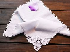 Pineapple Corner Crochet Lace Handkerchief by TheHouseofElegance