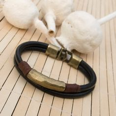 Men's black leather bracelet, Mens double boho leather bracelet