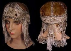 1920's Museum Quality Beaded Flapper Headpiece, with small silver and white…