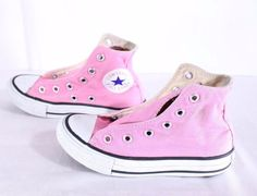 CONVERSE All Star Chuck Taylor Pink Hi Top Tennis Shoes Youth Size 11 No Laces…