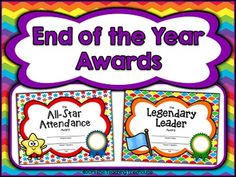 Your students will love to receive these fun end of the year certificates! These awards are colorful rainbow themed, and focus on academic, extracurricular, classroom job, and character achievements. With 36 awards to choose from, each student can receive a unique certificate! The awards are editable to allow adding student names, and come in both full and half page sizes. $