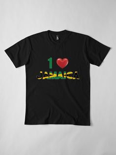 Love Jamaica With Red Heart' by EverythingJA Jamaica, Fashion Outfits, Clothing, Red, Mens Tops, T Shirt, Stuff To Buy, Women, Outfits