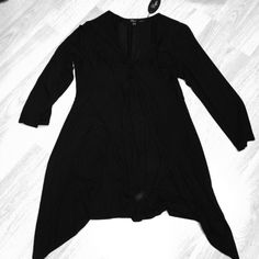 Black slinky tunic/dress Long sleeve and slinky tunic, NWT. Could be a very short dress as well. Independent Designer Dresses Mini