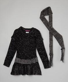 Look what I found on #zulily! Black Flower Sweater Dress & Scarf - Girls #zulilyfinds