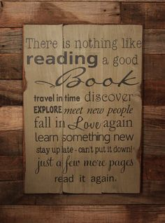 Large Wood Sign - There is Nothing Like Reading a Good Book - Subway Sign