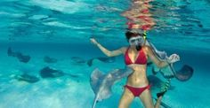 Swimming with stingrays in Stingray City, Cayman Islands