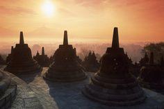 Borobudur at sunrise in Java, Indonesia