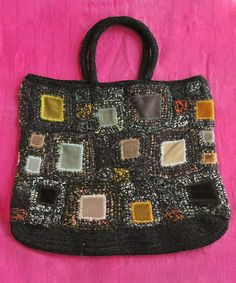LUVRI: Sophie digard Sophie day girl square motif bags and charcoal Crochet Round, Bead Crochet, Diy Tote Bag, Reusable Tote Bags, Handmade Purses, Couture Sewing, Fabric Bags, Cheap Bags, Crochet Purses