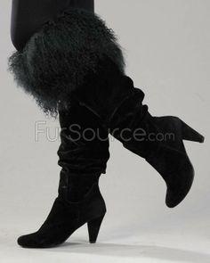 Boot Toppers - Black Mongolian Lamb Fur