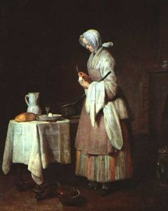 "Jean-Baptiste-Siméon Chardin      French      1699 - 1779      ""The Attentive Nurse"""