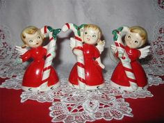 Vtg Napco Christmas Angel Figurine Bells  w Candy Canes