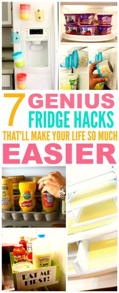 These 7 fridge hacks from the experts are THE BEST! I'm so happy I found these GREAT TIPS! Now I'll have less messes to clean! I'm SO pinning for later!