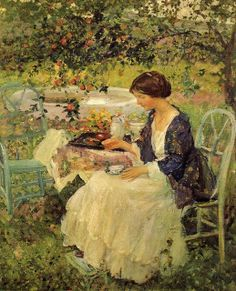 Miller, Richard Emil - The Chinese Robe. Okay, she's not gardening, she's having a cup of tea. And there's a tiny little footstool under her tiny little feet. But I wouldn't mind being her for a few hours.