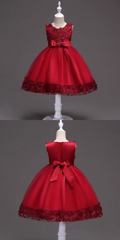 Only 369 Cheap Flower Girl Dresses Burgundy Short Flower Girl Dress With Floral Hem for Wedding at View more special Flower Girl DressesCheap Flower Girl Dresses now GemG. African Dresses For Kids, Gowns For Girls, Frocks For Girls, Girls Party Dress, Little Girl Dresses, Flower Girl Gown, Cheap Flower Girl Dresses, Flower Girls, Kids Dress Wear