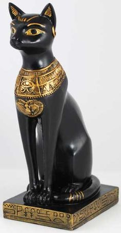 """Bast in Cat Form    The powerful protector goddess of lower Egypt, Bast 's, or Bastet's, very name means """"the devourer,"""" indicating the ferocity for which she was known in defending her own. Standing 5 3/4"""" tall and 3 3/4"""" deep, it is the image of a cat sitting on her haunches and decorated in the jewels of Egyptian royalty.  $13.95  http://www.scadaris.com/Statues-Fantasy-Art-Fairies/Bast-in-Cat-Form.html"""