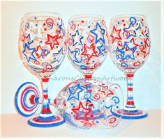 4 Patriotic Wine Glass Charms Great for 4th of July Party Proud To Be American