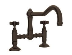Rohl Italian Country Kitchen Collection Deck Mounted Kitchen Bridge Faucet with 9 Inch High Column Spout, GPM Water Flow and Five Spoke Handles in Tuscan Brass Faucet Handles, Kitchen Handles, Brass Handles, Bath Fixtures, Bathroom Faucets, Kitchen Faucets, Pot Filler Faucet, Refinish Kitchen Cabinets, Rustic Italian