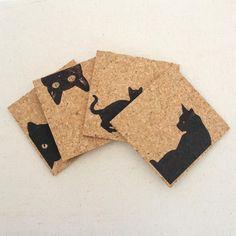 Black Cat Cork Coaster Set of 4 #CatHouse
