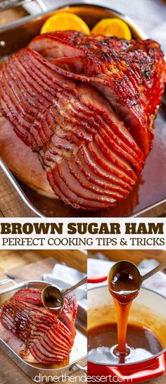 Browning Sugar Ham : Baked Ham with Brown Sugar Glaze made with brown sugar, orange juice, honey, and spices is the PERFECT sweet and savory holiday dinner, and bakes in only 90 minutes! Pork Recipes, Cooking Recipes, Baked Ham Recipes, Meatloaf Recipes, Recipes With Ham, Leftover Ham Recipes, Cooking Games, Yummy Recipes, Cooking Tips