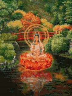 Quan Yin Lotus Cross Stitch pattern - PDF - Instant Download! by PenumbraCharts on Etsy