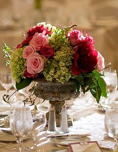 Small Garden Urn~ with large blooms of roses surrounded by gorgeous hydrangeas and weeping amaranthus